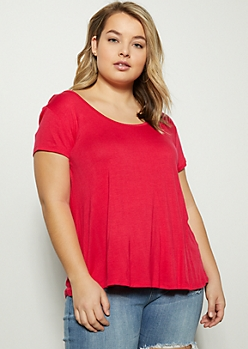 Plus Coral Crisscross Back Favorite Tee