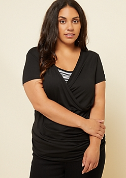 Plus Black Soft Knit Wrap Top