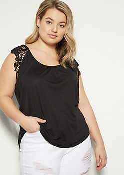 Plus Black Crochet Cap Sleeve Top