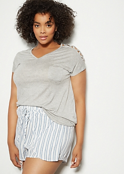 Plus Gray Lattice V Neck Tee