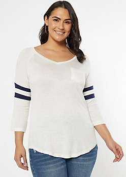Plus White Varsity Striped Raglan Tee
