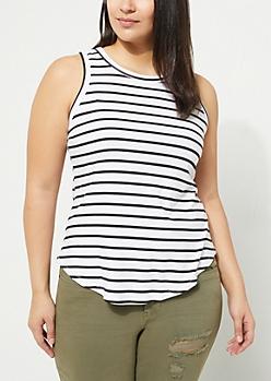 Plus Black Striped Soft Knit Tank