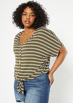 Plus Olive Striped Button Down Tie Front Tee