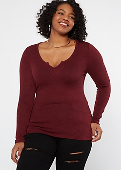 Plus Burgundy Long Sleeve Notch Neck Top
