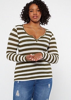 Plus Olive Striped Long Sleeve Notch Neck Top