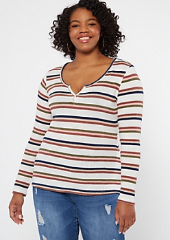 Plus Ivory Striped Long Sleeve Notch Neck Top