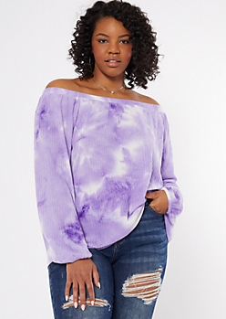 Plus Purple Tie Dye Off The Shoulder Top