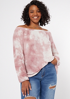 Plus Pink Tie Dye Off The Shoulder Top
