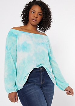 Plus Turquoise Tie Dye Off The Shoulder Top