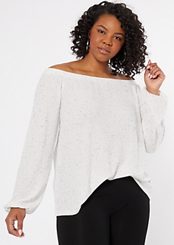 Plus Ivory Speckled Off The Shoulder Waffle Knit Top