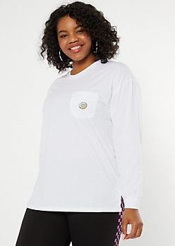 Plus White Donut Embroidered Tee