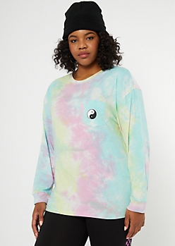 Plus Rainbow Tie Dye Yin Yang Embroidered Tee