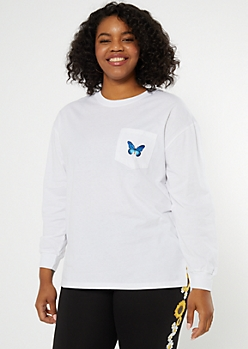 Plus White Butterfly Embroidered Tee