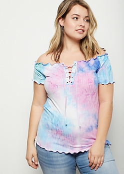 Plus Purple Tie Dye Lace Up Ribbed Knit Tee