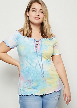 Plus Rainbow Tie Dye Lace Up Ribbed Knit Tee