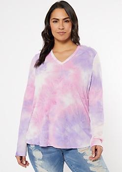 Plus Pink Tie Dye Waffle Knit Hoodie