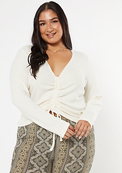Plus Ivory Ruched Front Ribbed Top