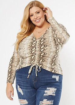 Plus Snakeskin Print Ruched Front Ribbed Top
