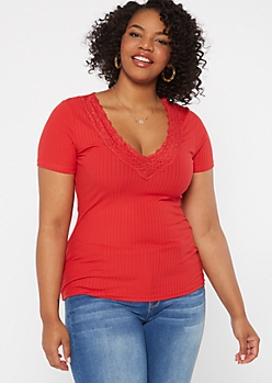 Plus Red Lace V Neck Ribbed Knit Tee