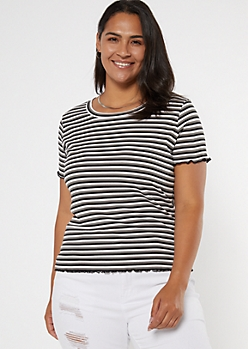 Plus Black Striped Ribbed Knit Baby Tee