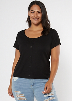 Plus Black Ribbed Button Tee