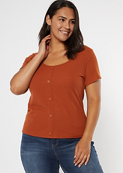 Plus Burnt Orange Ribbed Button Tee