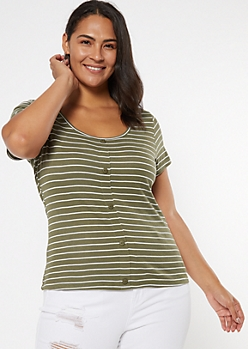 Plus Olive Striped Ribbed Button Tee