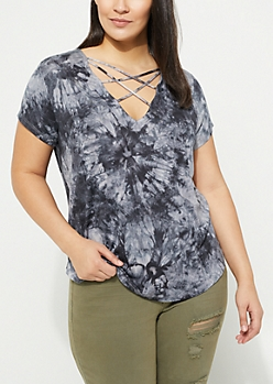 Plus Black Tie Dye Strappy Neckline Tee