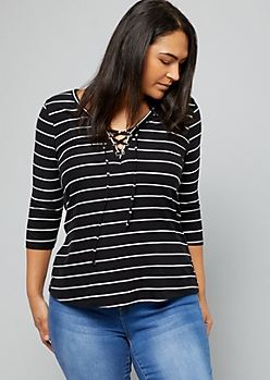 Plus Black Striped Super Soft Lace Up Tee