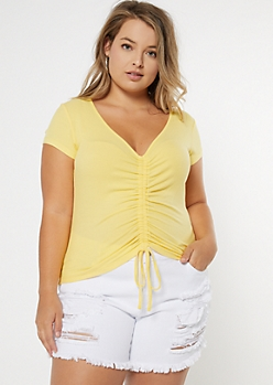 Plus Yellow Ruched Front Ribbed Knit Tee