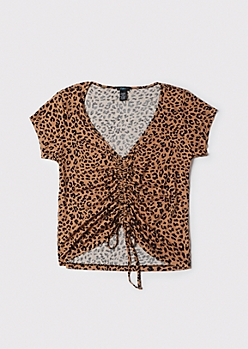 Plus Cheetah Print Ruched Tie Front Top