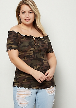 Plus Camo Print Ribbed Knit Lace Up Top