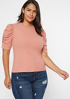 Plus Pink Ribbed Ruched Puff Sleeve Top