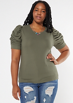 Plus Olive Ribbed Ruched Puff Sleeve Top