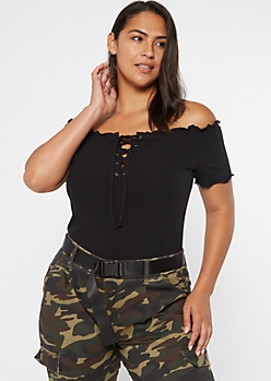 Black Ribbed Off Shoulder Lace Up Top