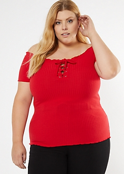 Red Ribbed Off Shoulder Lace Up Top