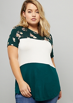 Plus Dark Green Floral Print Colorblock Short Sleeve Tee