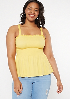 Plus Mustard Smocked Flounce Tank Top