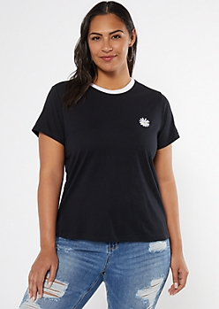 Plus Black Daisy Embroidered Ringer Tee