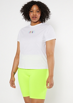 Plus White Feels Embroidered Tee