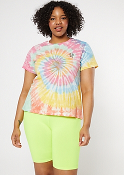 Plus Rainbow Tie Dye Drippy Smiley Embroidered Tee