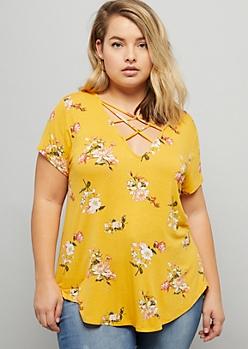 Plus Mustard Floral Print Crisscross V Neck Tee