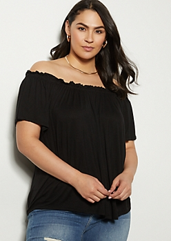 Plus Black Ruched Off The Shoulder Top