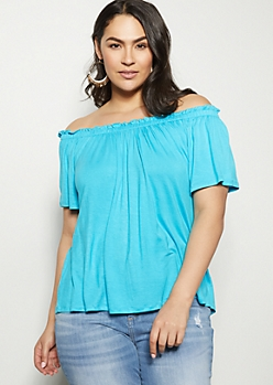 Plus Blue Ruched Off The Shoulder Top