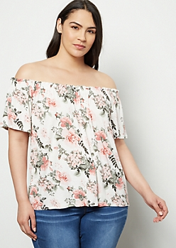 Plus Ivory Floral Print Ruched Off The Shoulder Top