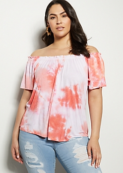 Plus Coral Tie Dye Ruched Off The Shoulder Top