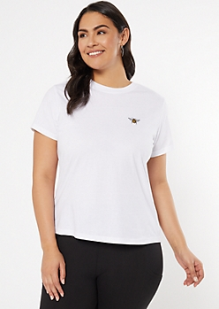 Plus White Bee Embroidered Tee