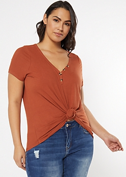Plus Burnt Orange Super Soft Button V Neck Top