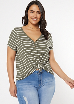 Plus Olive Striped Super Soft Button V Neck Top