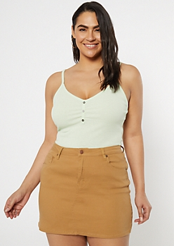 Plus Light Green Faux Button V-Neck Tank Top